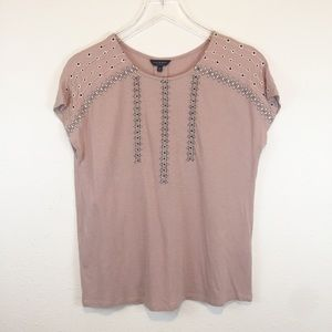 😍Lucky Brand Dusty Rose Embellished Tee XS